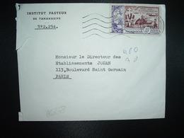 LETTRE TP LIBERATION 15F OBL.MEC.23-9 1954 TANANARIVE ANALAKELY + INSTITUT PASTEUR - Storia Postale