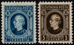 ~~~ Slovakia 1939 - Definitives Andrej Hlinka - WM 1, Perf 10½  - Mi. 41/42 YB ** MNH OG  ~~~ - Ungebraucht