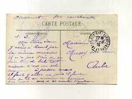 - FRANCE . 1914/18 . CP DE 1915  AVEC TAMPON MILITAIRE VIOLET HOPITAL DE FONTAINEBLEAU . - 1914-18