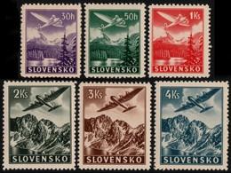 ~~~ Slovakia 1939 - Air Mail  - No WM, Perf 12½  - Mi. 48/53 X ** MNH OG  ~~~ - Ungebraucht