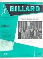 """Revue """" Le Billard """" N° 16 De Octobre 1962 (jm) - Sport"""