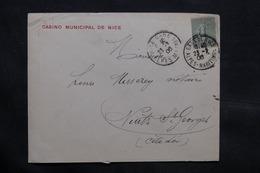 FRANCE - Enveloppe Du Casino De Nice Pour Nuits Saint Georges En 1906 - L 34331 - Marcophilie (Lettres)