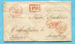 Faltbrief Von Zürich Nach Strasburg 1847 - Suisse