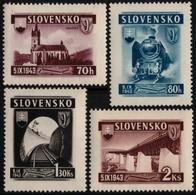 ~~~ Slovakia 1943 - Trains & Railway -  WM 1 , Perf 14 - Mi. 124/127  ** MNH OG  ~~~ - Unused Stamps