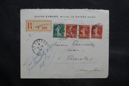 FRANCE - Enveloppe En Recommandé De Le Coteau Pour Charolles En 1914 - L 34344 - Marcophilie (Lettres)