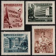 ~~~ Slovakia 1943 - Culture Funds -  WM 1 , Perf 14 - Mi. 128/131  ** MNH OG  ~~~ - Unused Stamps