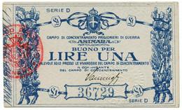 1 LIRA CAMPO CONCENTRAMENTO PRIGIONIERI DI GUERRA ASINARA WWI QFDS - [ 1] …-1946 : Kingdom