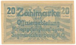 20 HELLER PRIGIONIERI DI GUERRA WWI SIGMUNDSHERBERG AUSTRIA SPL - [ 1] …-1946 : Kingdom