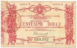 10 CENTESIMI CAMPO CONCENTRAMENTO PRIGIONIERI DI GUERRA ASINARA WWI SUP- - [ 1] …-1946 : Kingdom