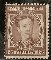 España Edifil 177 * Mh  25 Céntimos Castaño Corona Y Alfonso XII 1876  NL1471 - Nuevos