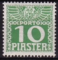 Osterreich / Austria Levant 1908 Portomarken Mit Türkischen Währung 10 Pia Hellgrün Mi. 12 X A Met Falz - Oostenrijkse Levant