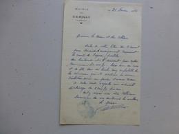 86 CERNAY 1956, Lettre Autographe Maire/ Agence Postale (PTT) Ref 326 ; PAP04 - Autogramme & Autographen