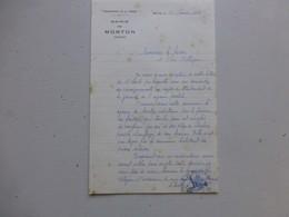 86 MORTON 1956, Lettre Autographe Maire/ Agence Postale (PTT) Ref 332 ; PAP04 - Autogramme & Autographen