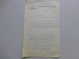 86 ASNOIS 1956, Lettre Autographe Maire/ Agence Postale (PTT) Ref 342 ; PAP04 - Autogramme & Autographen
