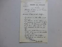 86 VOULON 1956, Lettre Autographe Maire/ Agence Postale (PTT) Ref 344 ; PAP04 - Autogramme & Autographen