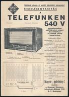 Cca 1940-1950 Telefunken 540 V Rádió Kezelési útmutatója - Old Paper