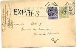 SH0003EP 19 + TP 48 Obl. TELEGRAPHIQUE BRUXELLES (LUXEMBOURG) 24 DECE 1888 En EXPRES V. Bruxelles. TB - Postcards [1871-09]
