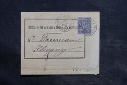 FRANCE - Formulaire Des Chemins De Fer De Chagny En 1878 , Affranchissement Sage - L 34386 - Marcophilie (Lettres)