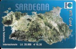 CARTE PREPAYEE-ITALIE-20000Lires-WTI CARD-SARDEGNA-Exp 30/6/2000-Plastic Fin-TBE - Italie