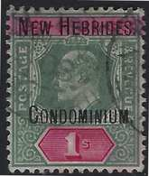 France Colonies Nouvelles-Hébrides N°11 1Sh Vert & Rose Obl RR Signé Brun & Roumet - Used Stamps
