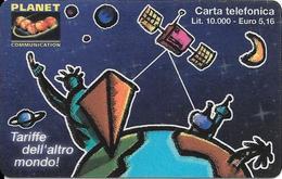 CARTE PREPAYEE-ITALIE-INTERCALL/PLANET-10000Lires--PLANETE Plastic Epais-TBE - Italie