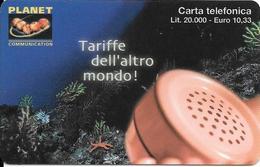 CARTE PREPAYEE-ITALIE-INTERCALL/PLANET-20000LiresFOND MARIN-Plastic Epais-TBE - Italie