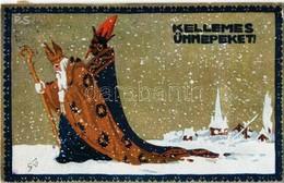 T2/T3 1923 Kellemes Ünnepeket! Krampusz és Mikulás. Kiadja Rigler József Ede Rt. / Krampus And Saint Nicholas Greeting A - Unclassified