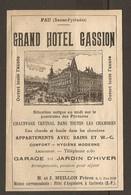 PUBLICITE R°/V° 1925 - PAU GRAND HOTEL GASSION H & J MEILLON + HOTEL De FRANCE MARIA CRISTINA SAN SEBASTIAN - Publicités