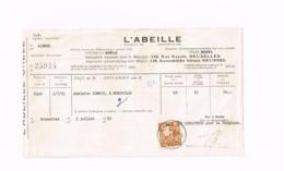 """Reçu.L'Abeille (Assurance).Oblitération """"Ciney"""".Adressé à Mohiville. - Bank & Insurance"""