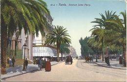 Tunis. Avenue Jules Ferry.  (cp Issue D'un Carnet!)(scan Verso) - Tunisie