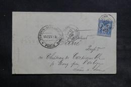 FRANCE - Lettre Commerciale De Paris Pour Givry En 1883 , Affranchissement Sage , Ambulant Au Verso - L 34403 - Marcophilie (Lettres)