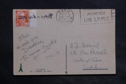 """FRANCE - Griffe Linéaire """" Chalon Sur Saône """" Sur Type Gandon Sur Carte Postale De Paris En 1951 - L 34407 - 1921-1960: Période Moderne"""