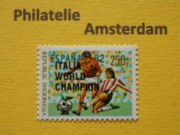 Indonesia 1982, BLACK OVERPRINT 'ITALIA WORLD CHAMPION' / FOOTBALL SOCCER: Mi 1066,  Type B, ** - 1982 – Spain