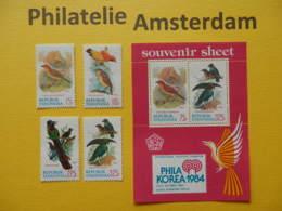 Indonesia 1984, FAUNA BIRDS OISEAUX VOGELS VÖGEL AVES: Mi 1154-57, + Bl. 58, ** - Vögel