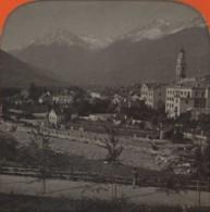 Stéréo Contre La Lumière 1860-70 . Vue De Méran , Prise De La Promenade . Merano , Italie . - Photos Stéréoscopiques