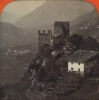 Stéréo Contre La Lumière 1860-70 . Ruine De Brunnenburg , Près Méran (Merano) . Tyrol . Italie . - Photos Stéréoscopiques