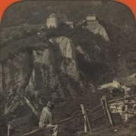 Stéréo Contre La Lumière 1860-70 . Vue Du Château Tyrol , Près Méran (Merano , Italie). - Photos Stéréoscopiques