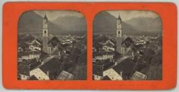 Stéréo Contre La Lumière 1860-70 . Italie . Vue De Méran (Merano), Prise Depuis La Tour . - Photos Stéréoscopiques
