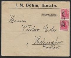 1921 - DR -  STETTIN Schiffspost Nach HELSINGFORS - FRAN UTLANDET Auf GERMANIA - SELTEN - Briefe U. Dokumente
