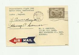 CANADA - Carte Lettre 3 Cents Marron Air Mail Trans Atlantic Flight 1930 Harbor Grace Newfoudland  Signatures  Pilotes - Lettres & Documents