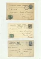 CANADA - 3 Entiers Postaux 1 Cent Gris (double ) 1 Cent Vert 2 Cents Bleu - Lettres & Documents