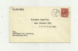 CANADA - Lettre  Timbres 3 Cents Rouge Non Dentelé Vignette Dos Northern Air Service - Lettres & Documents