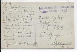 1918 - ARMEE D'ORIENT - PARC AUTOMOBILE De LYON ANNEXE RARE De TORINO (ITALIE) - CARTE FM  => LYON - Marcophilie (Lettres)