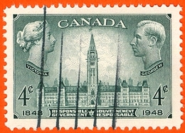 CANADA #277 RESPONSIBLE GOVERNMENT 1948- 4 CENTS-   USED VERY FINE - Used Stamps
