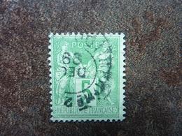 5c Vert-jaune  Type II   Y&T= 106  Oblitéré TBE - 1876-1898 Sage (Tipo II)