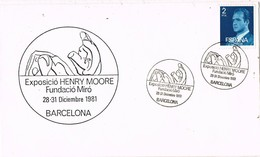 33386. Carta Exposicion BARCELONA 1981. Exposicion Henri Moore. Fundacion MIRÓ - 1931-Hoy: 2ª República - ... Juan Carlos I