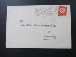 3. Reich 1935 Dienstbrief Nr. 136 EF Rücks. Vignette See. Sonne. Sand Westerland (Sylt) Amtsgericht Westerland - Dienstpost