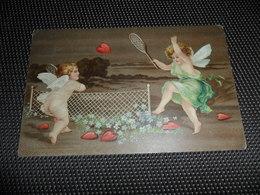Anges ( 154 )  Ange  Engelen  Engel   Angelot  Carte Gaufrée  Reliëf    Tennis - Anges
