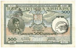 500 DINARI OCCUPAZIONE ITALIANA DEL MONTENEGRO 06/09/1935 BB/SPL - [ 3] Military Issues