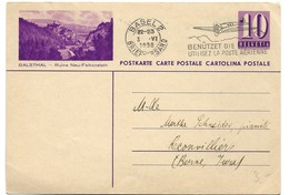 "207 - 37 - Entier Postal Avec Illustration ""Balsthal"" Oblit Mécanique 1938 - Interi Postali"